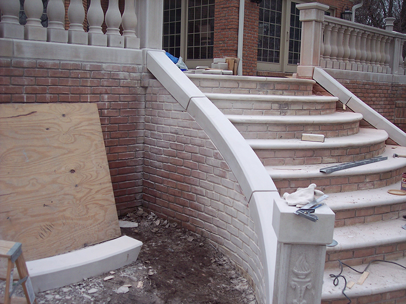 Limestone on stair rail